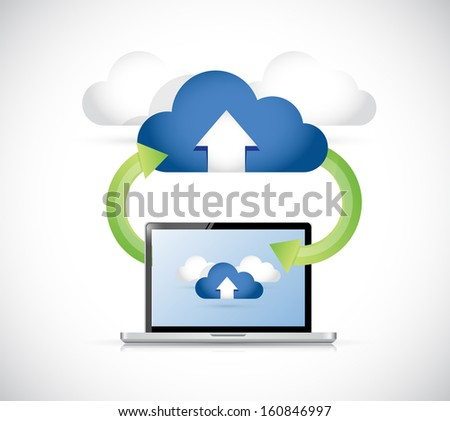 laptop connected to a set of clouds. arrows connection illustration design