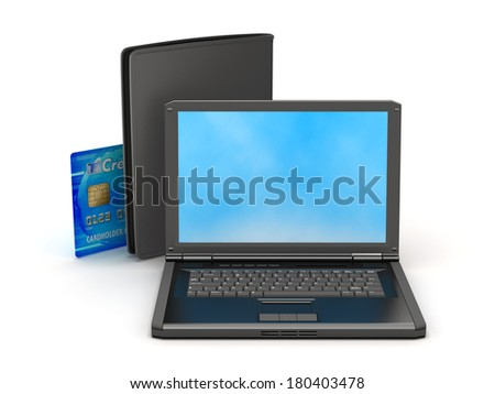 Laptop, credit card and black wallet