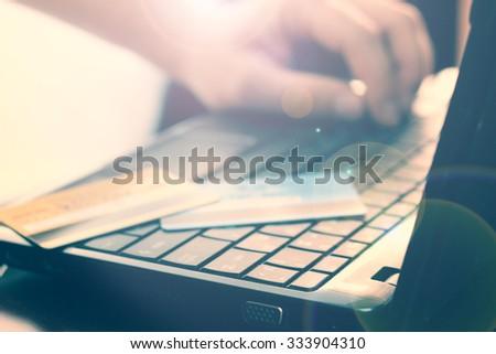 Laptop credit card payment - stock photo