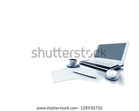 laptop document and coffe on white background
