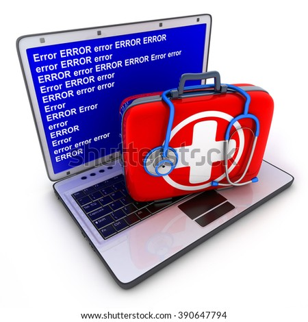Laptop error and first-aid kit (done in 3d) - stock photo
