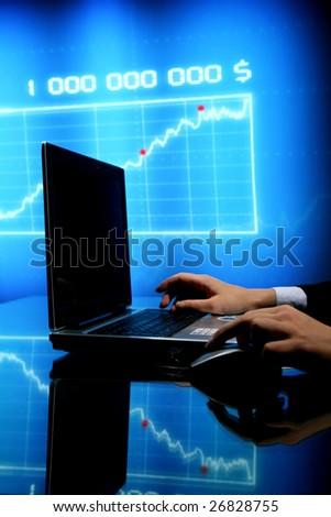 laptop finance - stock photo