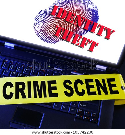 laptop fingerprint with Identity Theft text - stock photo