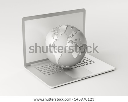 Laptop Globe isolated