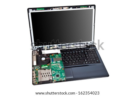 Laptop half disassembled, repair service concept