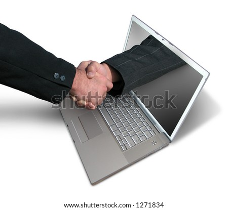 Laptop handshake - stock photo