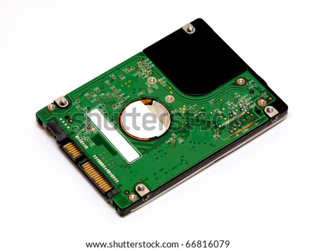 Laptop hard disk isolated on white background - stock photo