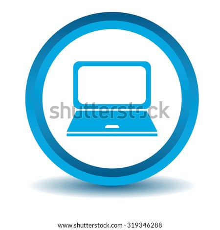 Laptop icon, blue, 3D, isolated on white - stock photo