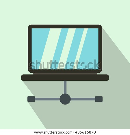 Laptop icon in flat style - stock photo