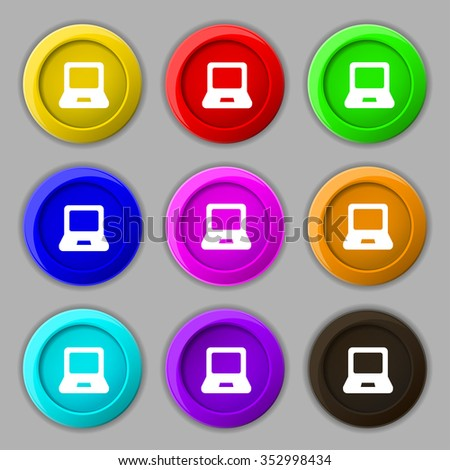 Laptop icon sign. symbol on nine round colourful buttons. illustration - stock photo