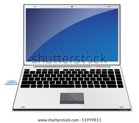 Laptop illustration with blue screen - stock photo