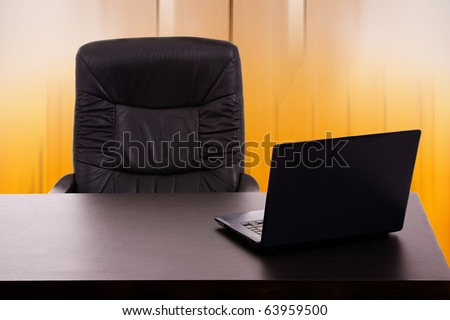 Laptop in a desk at the office - stock photo