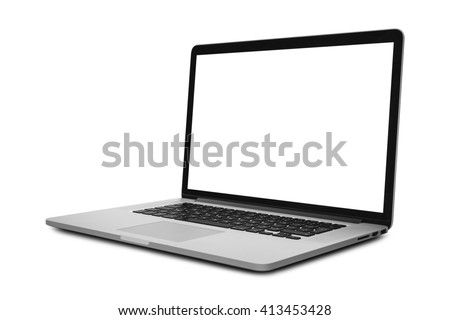 Laptop in angled position with blank screen isolated on white background - mockup template - stock photo
