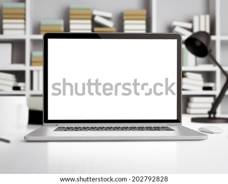 Laptop in room - stock photo