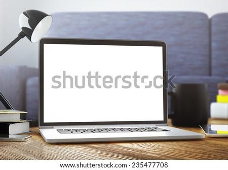 laptop in room - stock photo