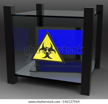 Laptop infected by computer virus - stock photo