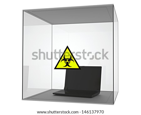 Laptop infected by computer virus - isolated - stock photo