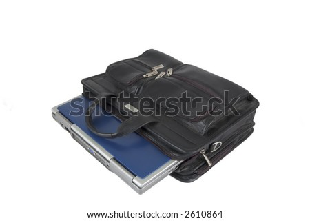 laptop inside a leather briefcase on a white background