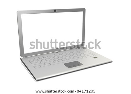 Laptop isolated. Angle view 3d render