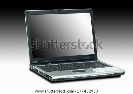 Laptop isolated on black and white background