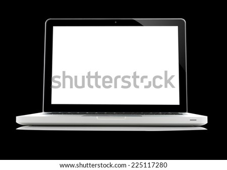Laptop isolated on black background