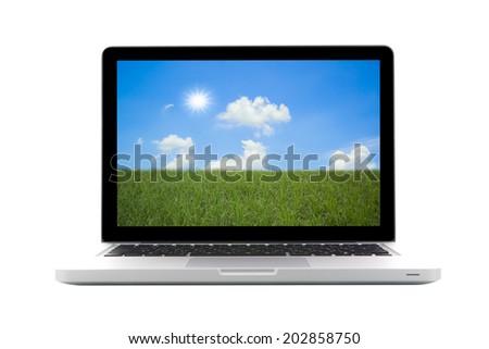 Laptop isolated on nature background - stock photo