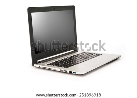 Laptop isolated on white background,Clipping path for insert Photo - stock photo