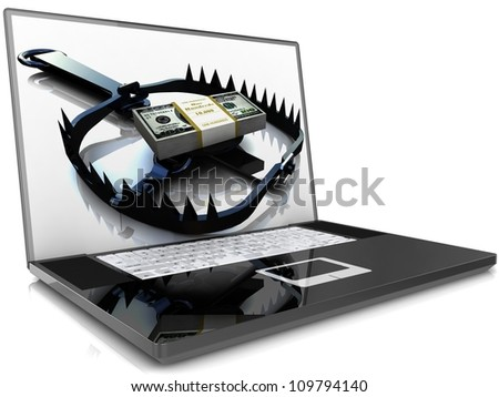 Laptop isolated on white background with money trap. - stock photo