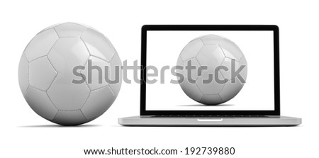 Laptop isolated on white with a blank ball clipping path included - stock photo