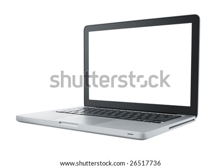 laptop isolated on white with blank monitor