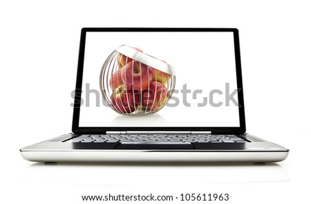 Laptop isolated on white with screen showing concept for laptop security