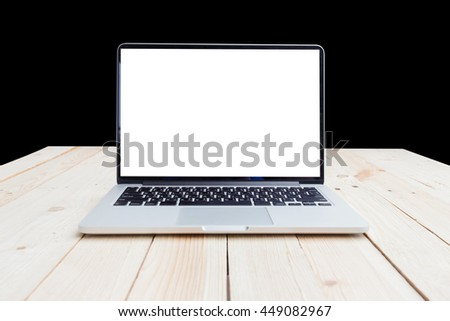 laptop isolated with blank screen on black background