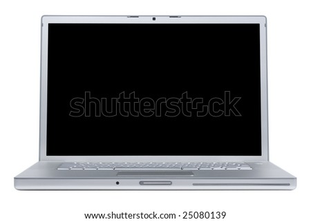 Laptop isolated [with clipping paths for laptop and for screen] - stock photo