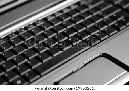 Laptop keyboard. Closeup