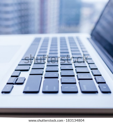Laptop keyboard. Selective focus. - stock photo