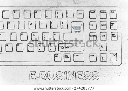 laptop keyboard with shopping cart enter button, concept of e-commerce and buying shopping