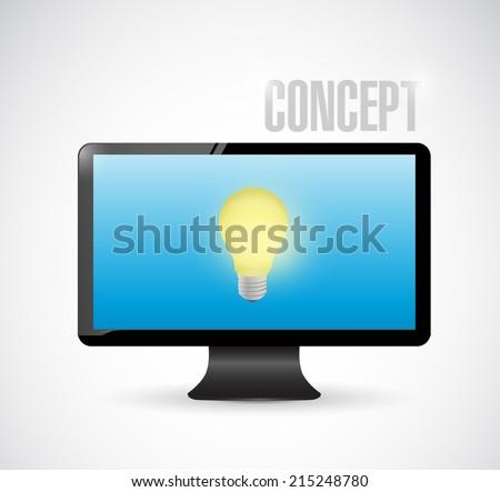 laptop light bulb concept illustration design over a white background - stock photo