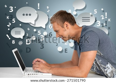 Laptop, Men, Computer. - stock photo
