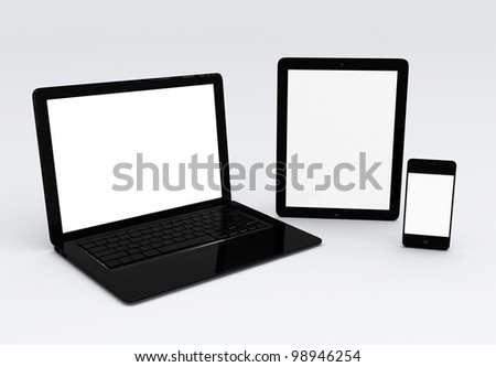 laptop,mobile phone, and tablet - stock photo