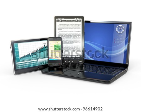 Laptop, mobile phone, tablet pc and e-book. 3d - stock photo