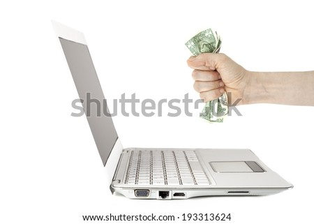 Laptop monitor and hand - stock photo