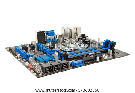 Laptop motherboard isolated - stock photo