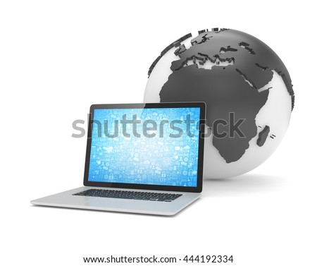 Laptop network and earth globe. 3d render - stock photo