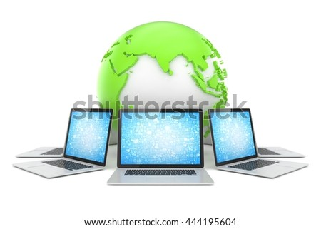 Laptop network around earth globe. 3d render - stock photo
