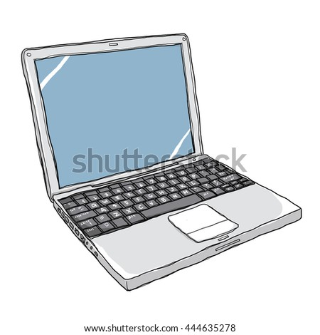 laptop notebook computer  art painting cute line art illustration
