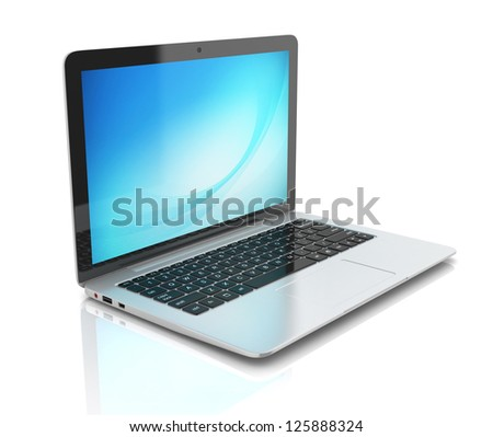laptop notebook ultrabook isolated - stock photo