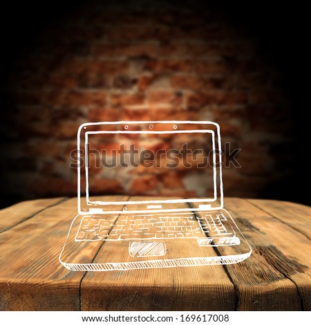 laptop of white and red wall  - stock photo