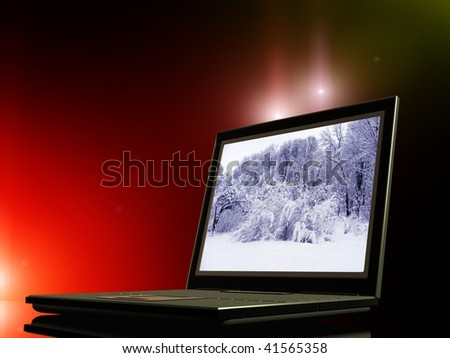 Laptop on a mirrored background