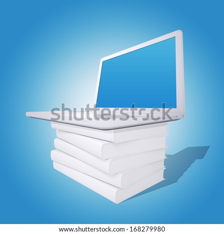Laptop on a pile of white books. Blue background. Laptop screen is empty
