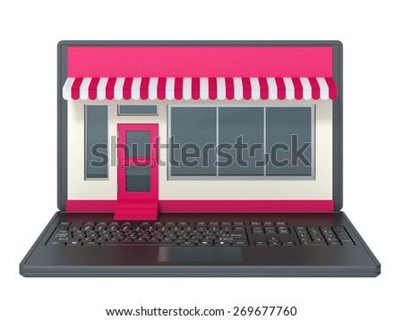 laptop on a white background - stock photo